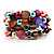 Acrylic & Shell Bead Coil Flex Bangle Bracelet (Multicoloured) - view 4
