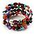 Acrylic & Shell Bead Coil Flex Bangle Bracelet (Multicoloured) - view 5