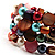 Acrylic & Shell Bead Coil Flex Bangle Bracelet (Multicoloured) - view 6