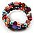 Acrylic & Shell Bead Coil Flex Bangle Bracelet (Multicoloured) - view 3