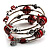 Silver-Tone Beaded Multistrand Flex Bracelet (Red) - view 3