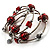 Silver-Tone Beaded Multistrand Flex Bracelet (Red) - view 6