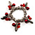 Silver Tone Link Bead Charm Flex Bracelet (Red) - view 1