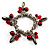 Silver Tone Link Bead Charm Flex Bracelet (Red) - view 5