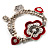 2-Strand Red Floral Charm Bead Flex Bracelet (Antique Silver Tone) - view 5