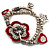 2-Strand Red Floral Charm Bead Flex Bracelet (Antique Silver Tone) - view 2
