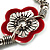 2-Strand Red Floral Charm Bead Flex Bracelet (Antique Silver Tone) - view 4