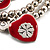 2-Strand Red Floral Charm Bead Flex Bracelet (Antique Silver Tone) - view 6