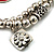 2-Strand Red Floral Charm Bead Flex Bracelet (Antique Silver Tone) - view 7