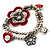 2-Strand Red Floral Charm Bead Flex Bracelet (Antique Silver Tone) - view 9