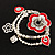 2-Strand Red Floral Charm Bead Flex Bracelet (Antique Silver Tone) - view 3