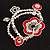 2-Strand Red Floral Charm Bead Flex Bracelet (Antique Silver Tone) - view 10