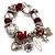 Silver Tone Red Coral Charm Flex Bracelet