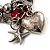 Silver Tone Red Coral Charm Flex Bracelet - view 4