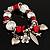 Silver Tone Red Coral Charm Flex Bracelet - view 2