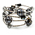 Silver-Tone Beaded Multistrand Flex Bracelet (Dark Grey) - view 3