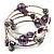 Silver-Tone Beaded Multistrand Flex Bracelet (Purple) - view 8