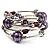 Silver-Tone Beaded Multistrand Flex Bracelet (Purple) - view 5