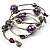 Silver-Tone Beaded Multistrand Flex Bracelet (Purple) - view 6