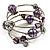 Silver-Tone Beaded Multistrand Flex Bracelet (Purple) - view 2
