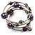 Silver-Tone Beaded Multistrand Flex Bracelet (Purple) - view 10