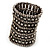 Wide Crystal Egyptian Style Flex Bracelet (Burn Silver Tone Finish) - 17cm Length - view 8