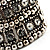 Wide Crystal Egyptian Style Flex Bracelet (Burn Silver Tone Finish) - 17cm Length - view 9