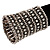 Wide Crystal Egyptian Style Flex Bracelet (Burn Silver Tone Finish) - 17cm Length - view 2