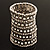 Wide Crystal Egyptian Style Flex Bracelet (Burn Silver Tone Finish) - 17cm Length - view 3