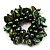 Chunky Forest Green Shell And Bead Flex Bracelet