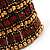 Wide Red Crystal Egyptian Style Flex Bracelet (Burn Gold Tone Finish) - 8cm Width - view 4