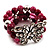 3 Strand Purple Bead Butterfly Flex Bracelet - 17cm Length - view 6