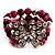 3 Strand Purple Bead Butterfly Flex Bracelet - 17cm Length - view 3