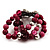 3 Strand Purple Bead Butterfly Flex Bracelet - 17cm Length - view 5