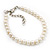 Classic Pearl Style Bracelet In Silver Tone Finish (6mm) - 16cm length with 4cm extension - view 2
