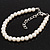 Classic Pearl Style Bracelet In Silver Tone Finish (6mm) - 16cm length with 4cm extension - view 4