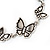 Antique Silver Butterfly Bracelet - 18cm Length & 3cm Extension - view 3