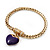 Gold Plated Magnetic Purple Enamel Heart Charm Bracelet - up to 18cm Length - view 6