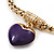 Gold Plated Magnetic Purple Enamel Heart Charm Bracelet - up to 18cm Length - view 2
