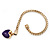 Gold Plated Magnetic Purple Enamel Heart Charm Bracelet - up to 18cm Length - view 5