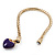Gold Plated Magnetic Purple Enamel Heart Charm Bracelet - up to 18cm Length - view 3
