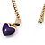 Gold Plated Magnetic Purple Enamel Heart Charm Bracelet - up to 18cm Length - view 7