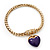 Gold Plated Magnetic Purple Enamel Heart Charm Bracelet - up to 18cm Length - view 4