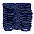 Wide Navy Blue Glass Bead Flex Bracelet - up to 19cm wrist