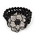 Stunning 3 Strand Black Bead Crystal Flower Stretch Bracelet - Up to 18cm Length