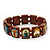 Brown Wooden Religious Images Catholic Jesus Icon Saints Stretch Bracelet - up to 20cm length