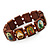 Brown Wooden Religious Images Catholic Jesus Icon Saints Stretch Bracelet - up to 20cm length - view 3