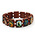 Brown Wooden Religious Images Catholic Jesus Icon Saints Stretch Bracelet - up to 20cm length - view 4