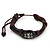 Unisex Dark Brown Leather &#039;Eye&#039; Bracelet - Adjustable - view 2