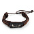 Unisex Brown Leather &#039;Vector&#039; Bracelet - Adjustable